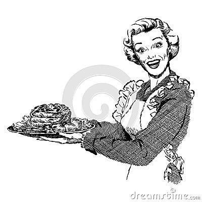 Vintage 1950s Woman Serving Dinner