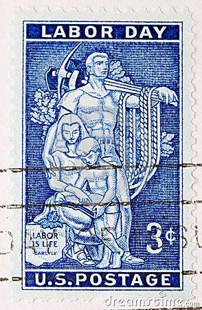 Vintage 1956 US Postage Stamp Labor Day