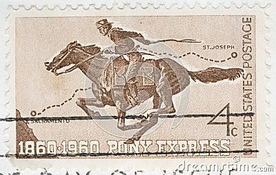 Vintage 1960 canceled US stamp Pony Express