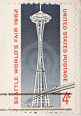 Vintage 1962 Canceled US Stamp Space Needle