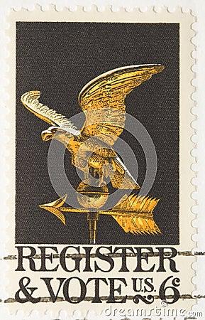 Vintage 1968 Stamp Register to Vote