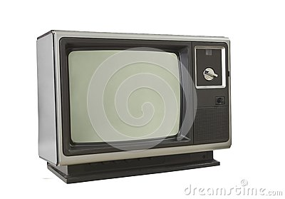 Vintage 1970 s Television Isolated on White