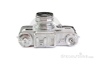 Vintage 35mm film rangefinder camera top view isol