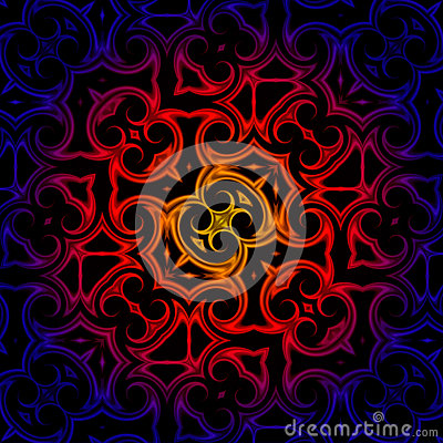 Vintage blue red yellow oriental kaleidoscope background