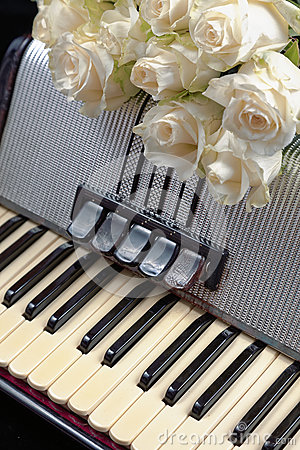 Free Vintage Accordion And A Bouquet Of White Roses. Concept Of A Nostalgic Music. Royalty Free Stock Photo - 88174255