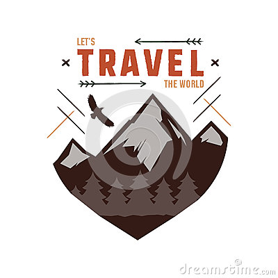 Free Vintage Adventure Hand Drawn Label Design. Let`s Travel The World Sign And Outdoor Activity Symbols - Mountains, Forest Royalty Free Stock Image - 90347556