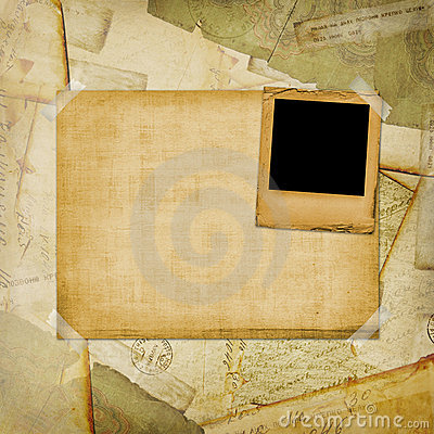 Vintage aged background, old Postcard, envelopes