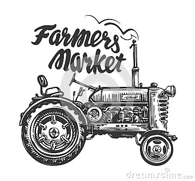Free Vintage Agricultural Tractor, Sketch. Farmers Market, Lettering. Hand Drawn Vector Illustration Royalty Free Stock Images - 86665859