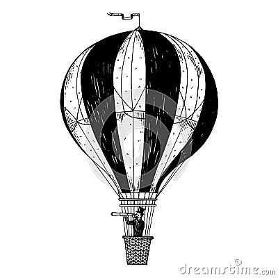 Free Vintage Air Balloon Engraving Vector Illustration Stock Image - 113640231