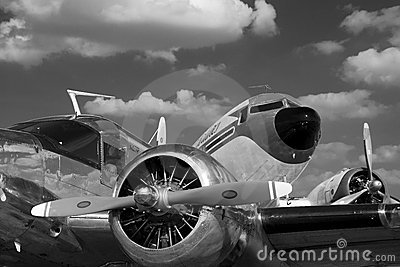 Vintage airplanes in black and white