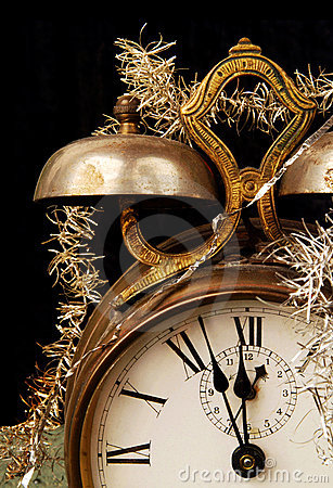 Vintage Alarm Clock On New Years Eve Royalty Free Stock