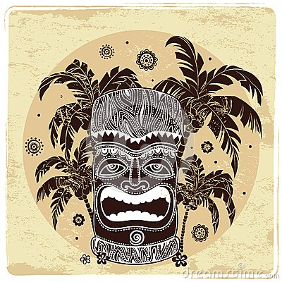 Vintage Aloha Tiki illustration