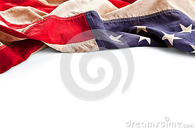 Vintage America flag border isolated on white
