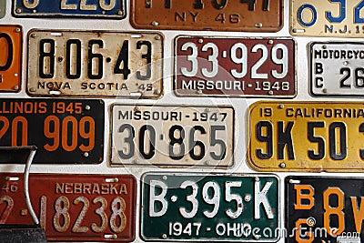 Vintage American cars number plates