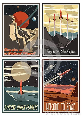 Free Vintage American Space Posters From The 1950s Stock Photos - 123873963