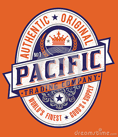 Vintage Americana Style Pacific Label