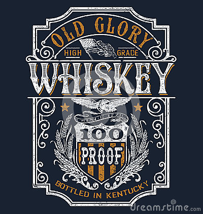 Free Vintage Americana Whiskey Label T-shirt Graphic Stock Photos - 68950113