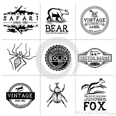 Free Vintage Animal Labels Stock Photos - 35569543
