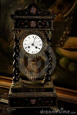 Vintage, antique old clock, oil canvas background