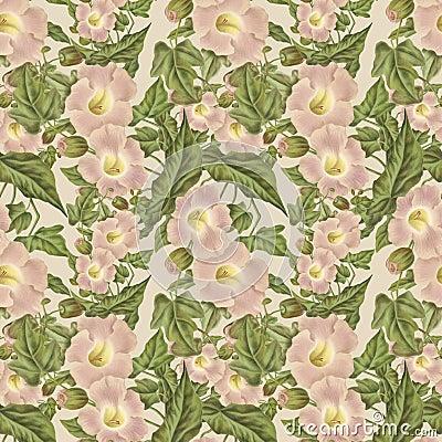 Vintage Antique Pink Flower Pattern