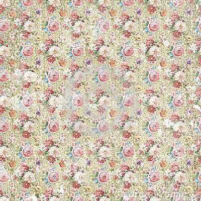 Vintage antique shabby flower paper background, seamless repeat pattern texture Stock Photo