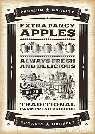 Free Vintage Apple Harvest Poster Stock Photo - 38891070