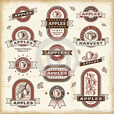 Vintage apple labels set