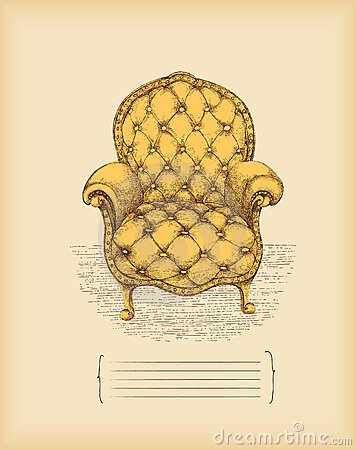 Free Vintage Armchair -drawing Stock Image - 13968911