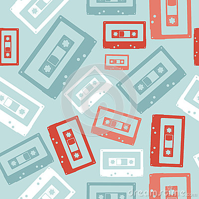 Vintage audio tapes pattern