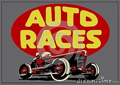 Vintage auto races poster