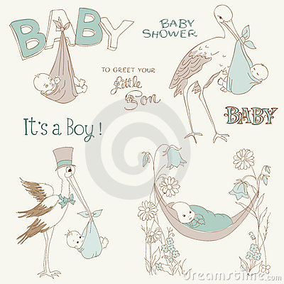 Free Vintage Baby Boy Shower And Arrival Doodles Set Royalty Free Stock Image - 21933166