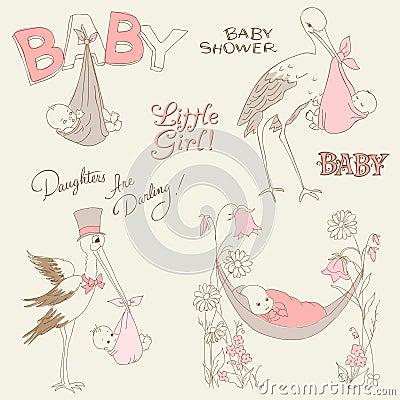 Vintage Baby Girl Shower and Arrival Doodles Set