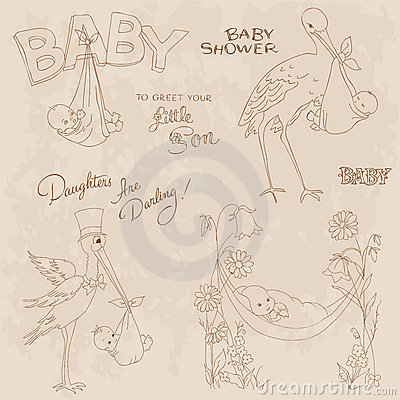 Vintage Baby Shower and Arrival Doodles Set