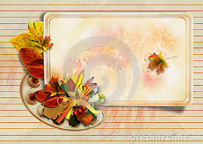 Vintage background with autumn card and pencils