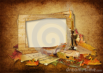 Vintage background with beautiful photo frames