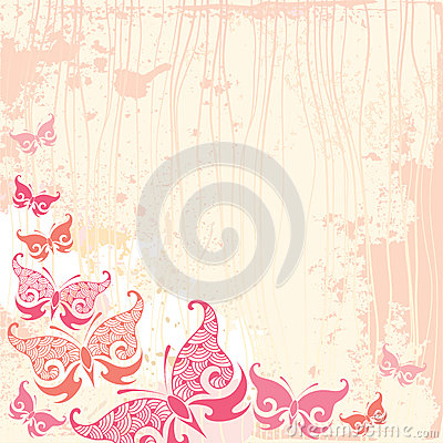 Pink vintage butterfly background - photo#18