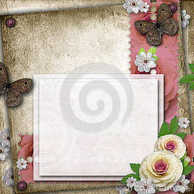 Vintage background with card