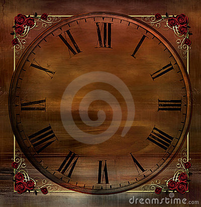 Vintage Background with Clock and Rose Corners