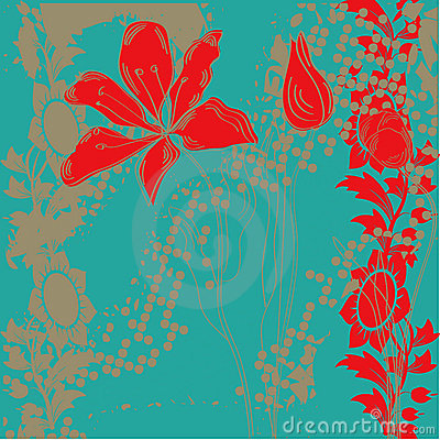 Vintage background with decorative flowers