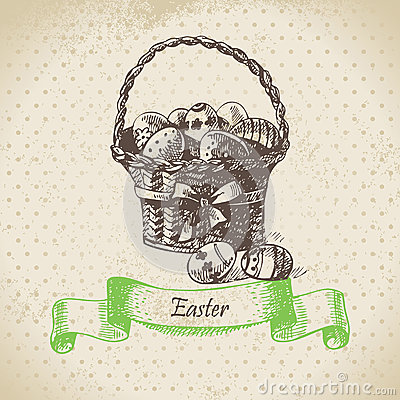 Vintage background with Easter bascket