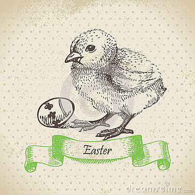 Vintage background with Easter chick
