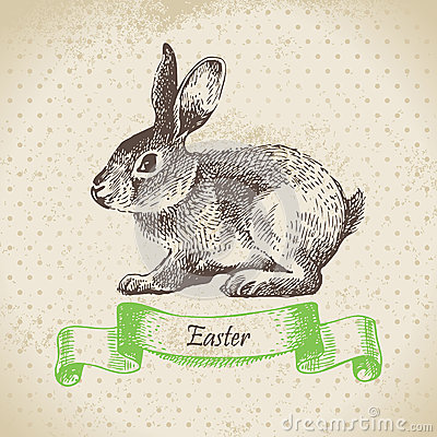 Vintage background with Easter rabbit
