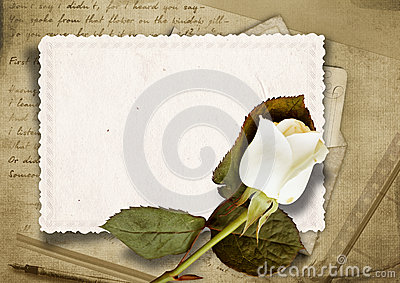 Vintage background with faded rose and old card
