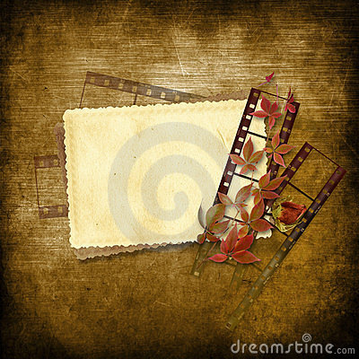 Vintage background with film strip and card