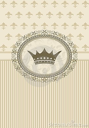 Vintage background with floral frame and crown