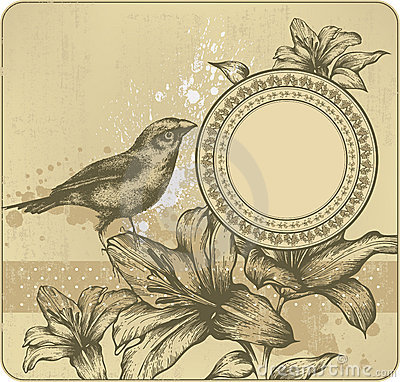Vintage background with frame, blooming lilies and