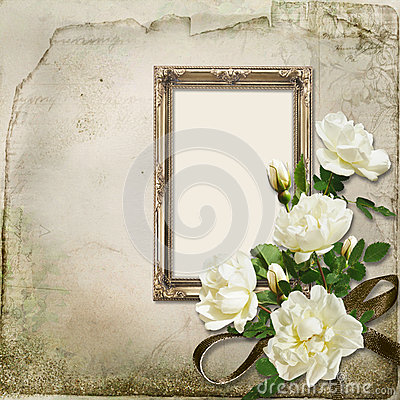 Vintage background with frame and bunch of roses
