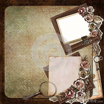 Vintage background with frame, roses and letters