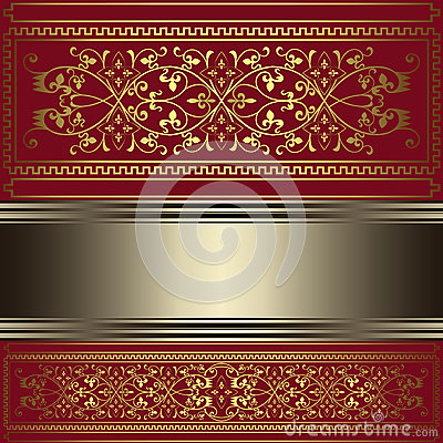 Vintage background with gold floral ornaments