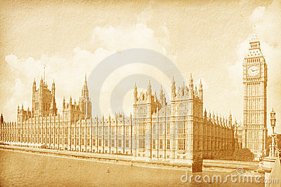 vintage background with Houses of Parliament